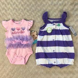 Baby Girl Summer Romper Bundle Purple White